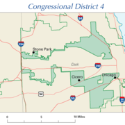 The earmuff shape of Illinois's 4th congressional district packs two Hispanic areas while retaining narrow contiguity along Interstate 294.