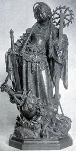 Saint Barbara (wood, German, 16th C.) dominating her tormentor