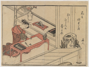 A Woman Writing by Suzuki Harunobu (Brooklyn Museum)