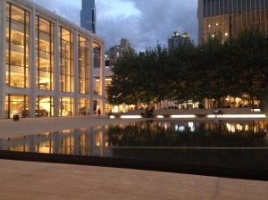 Lincoln Center: the reflecting pool at dusk
