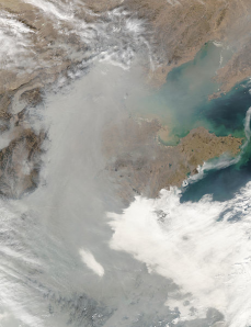 Satellite captures the smog hiding coast of eastern China