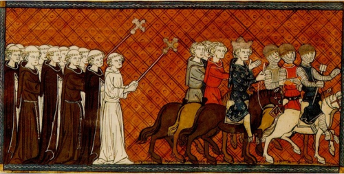 Monks bless Louis IX as he sets off on 7th Crusade