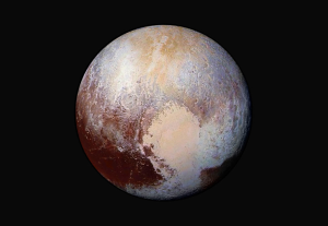Pluto Dazzles in False Color Four images from New Horizons' Long Range Reconnaissance Imager (LORRI) were combined with color data from the Ralph instrument to create this enhanced color global view of Pluto.