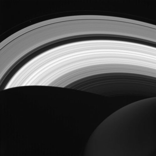 A view of Saturn from its night side. Even when not directly in front of the sun, its rings still reflect light around the planet. (NASA/JPL-Caltech/Space Science Institute)