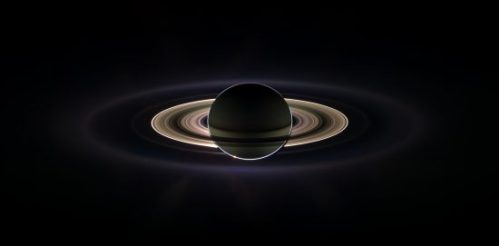 A reverse view of Saturn, made by combining 165 images, revealed additional, fainter rings around the planet. (NASA/JPL/Space Science Institute)