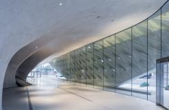 The Broad museum's lobby with interior veil; photo by Iwan Baan; courtesy of The Broad and Diller Scofidio + Renfro